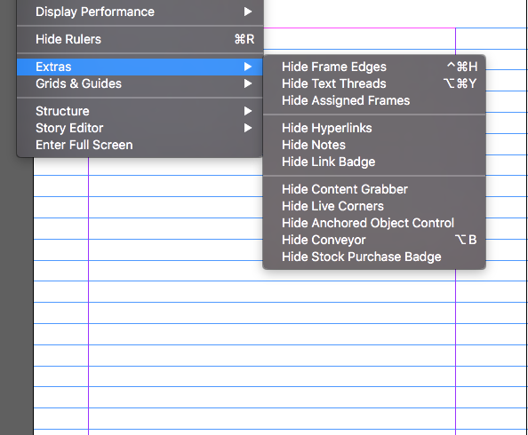 how to view indesign document without lines