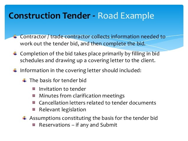 example of a completed tender document