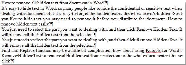 hidden text in word document