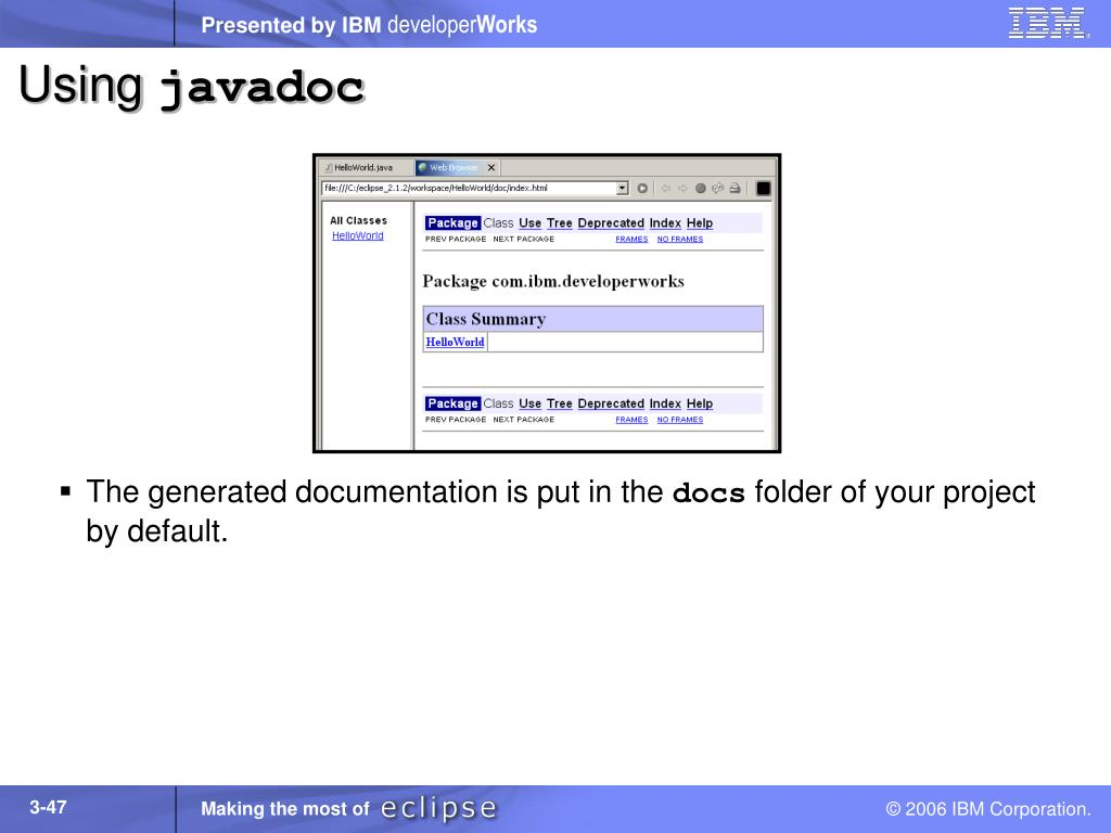 can you put a link to documentation in javadoc