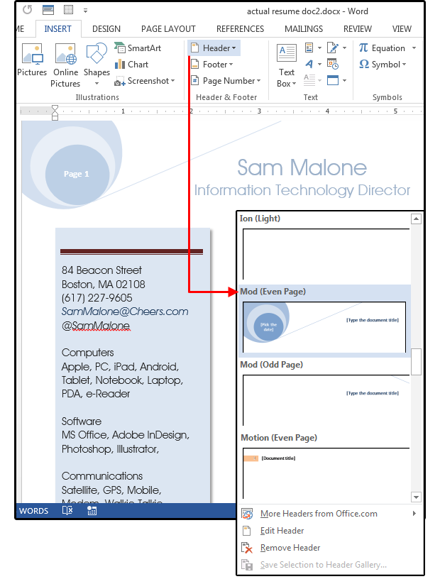 how to add a custom property in a word document