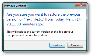 restore previous word document version
