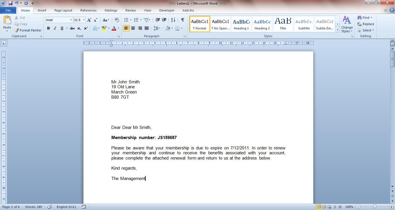 how to create a mail merge document