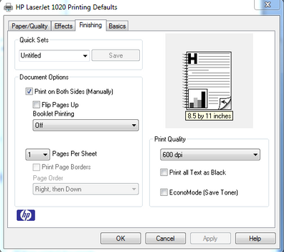 setup document for double sided printing line up