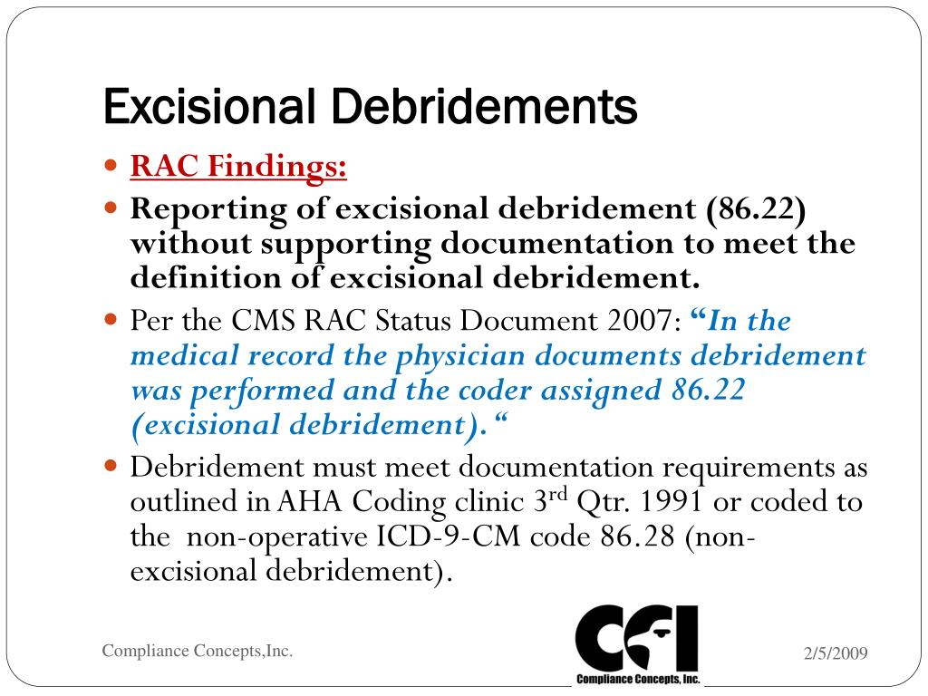 excisional debridement documentation requirements
