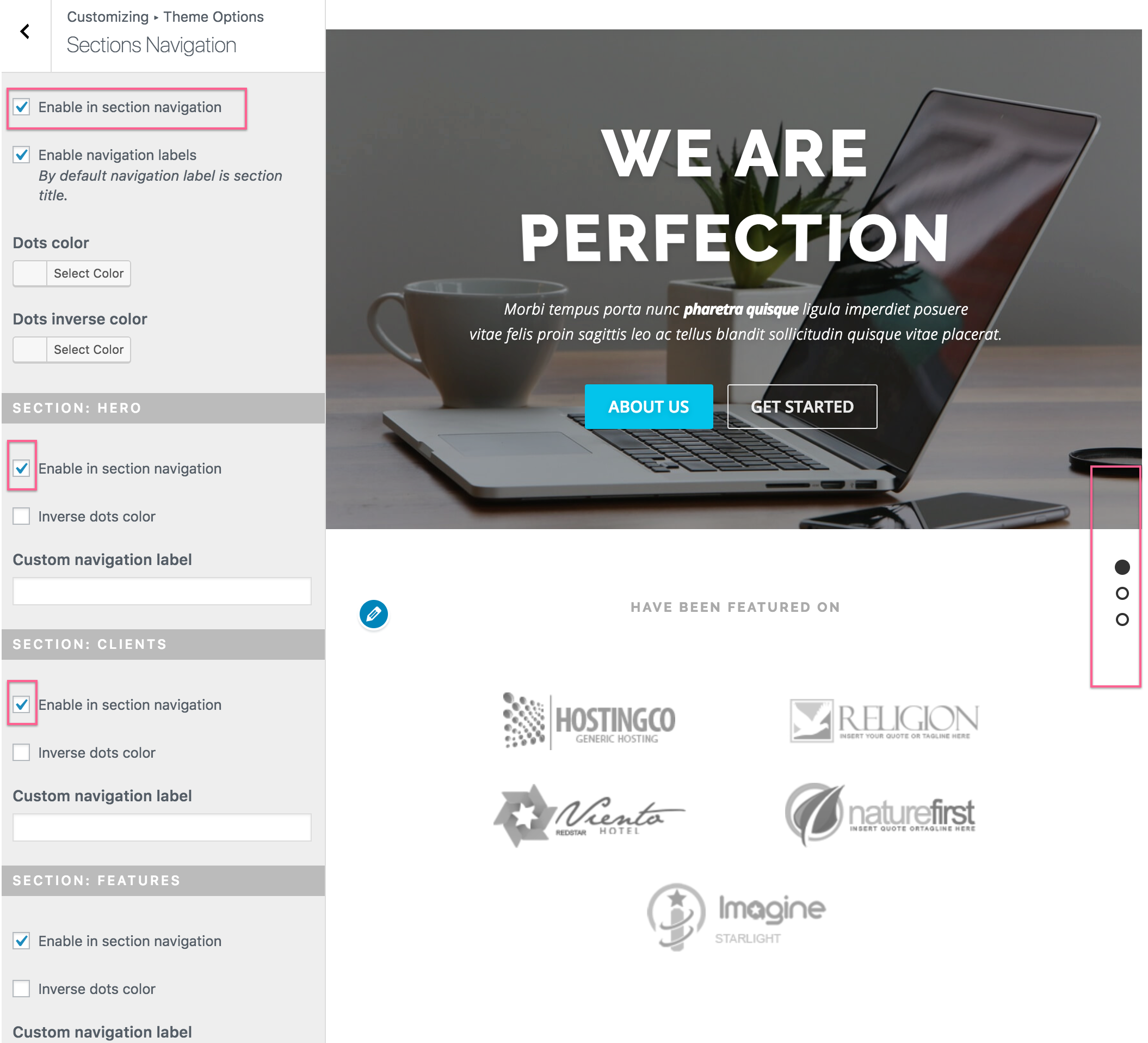 onepress wordpress theme documentation