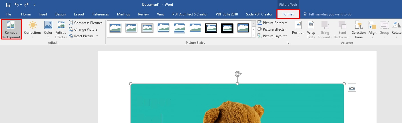 how to remove background in word document
