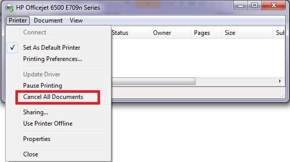 delete document in printer queue