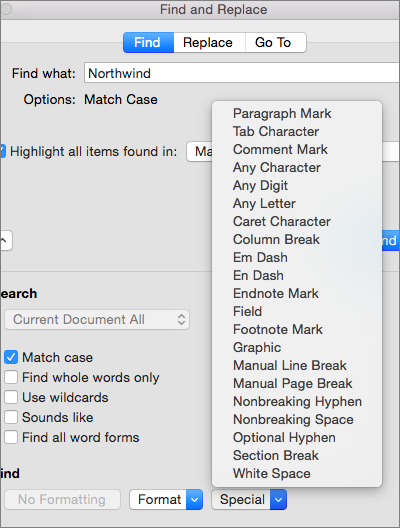 mac find word in document