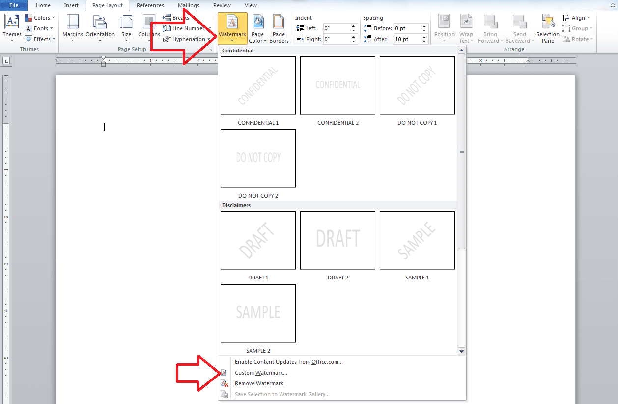 place watermark text on word document
