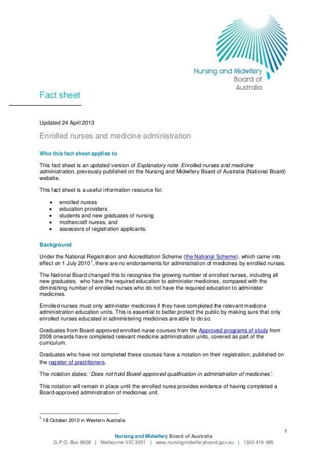 administration of medication documentation by enrolled nurse