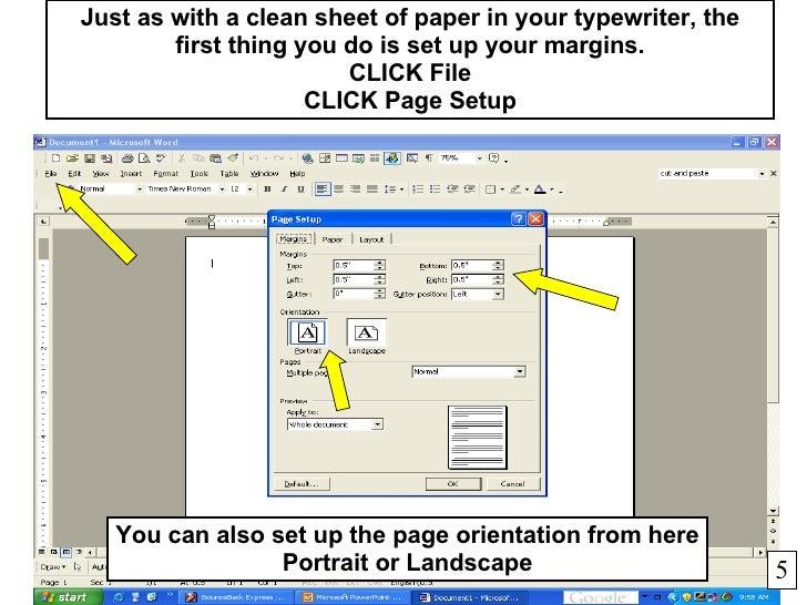 microsoft word page portrait landscape one document