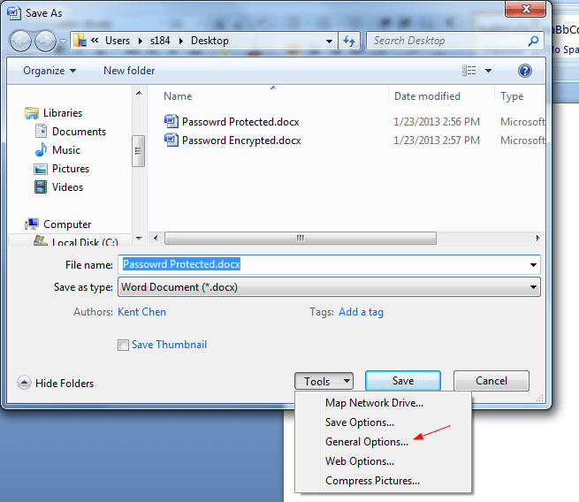 how to make a word document password protected