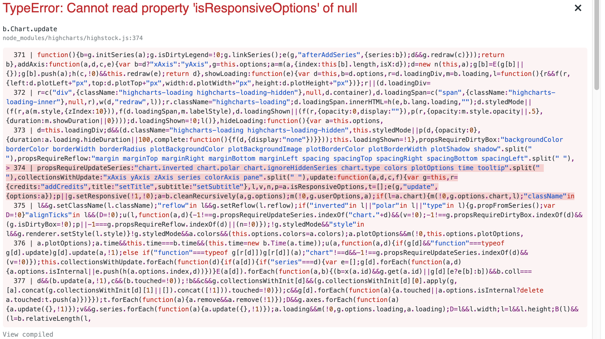 cannot read property document of null