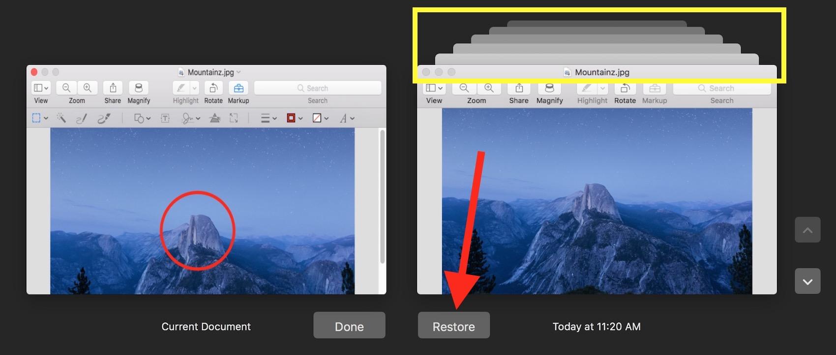 mac restore earlier version of word document