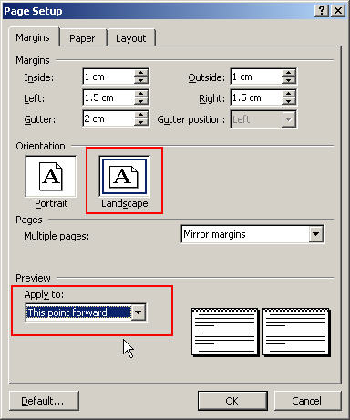 word one page landscape in portrait document