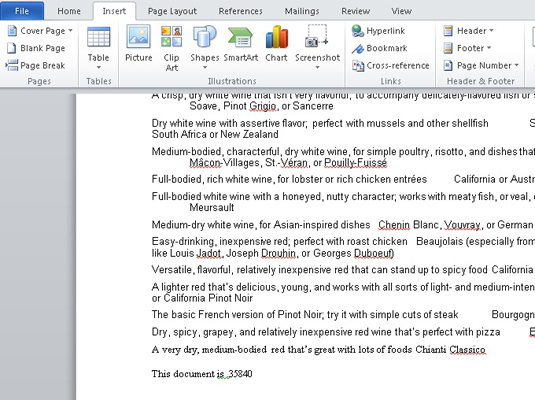 insert field into word document