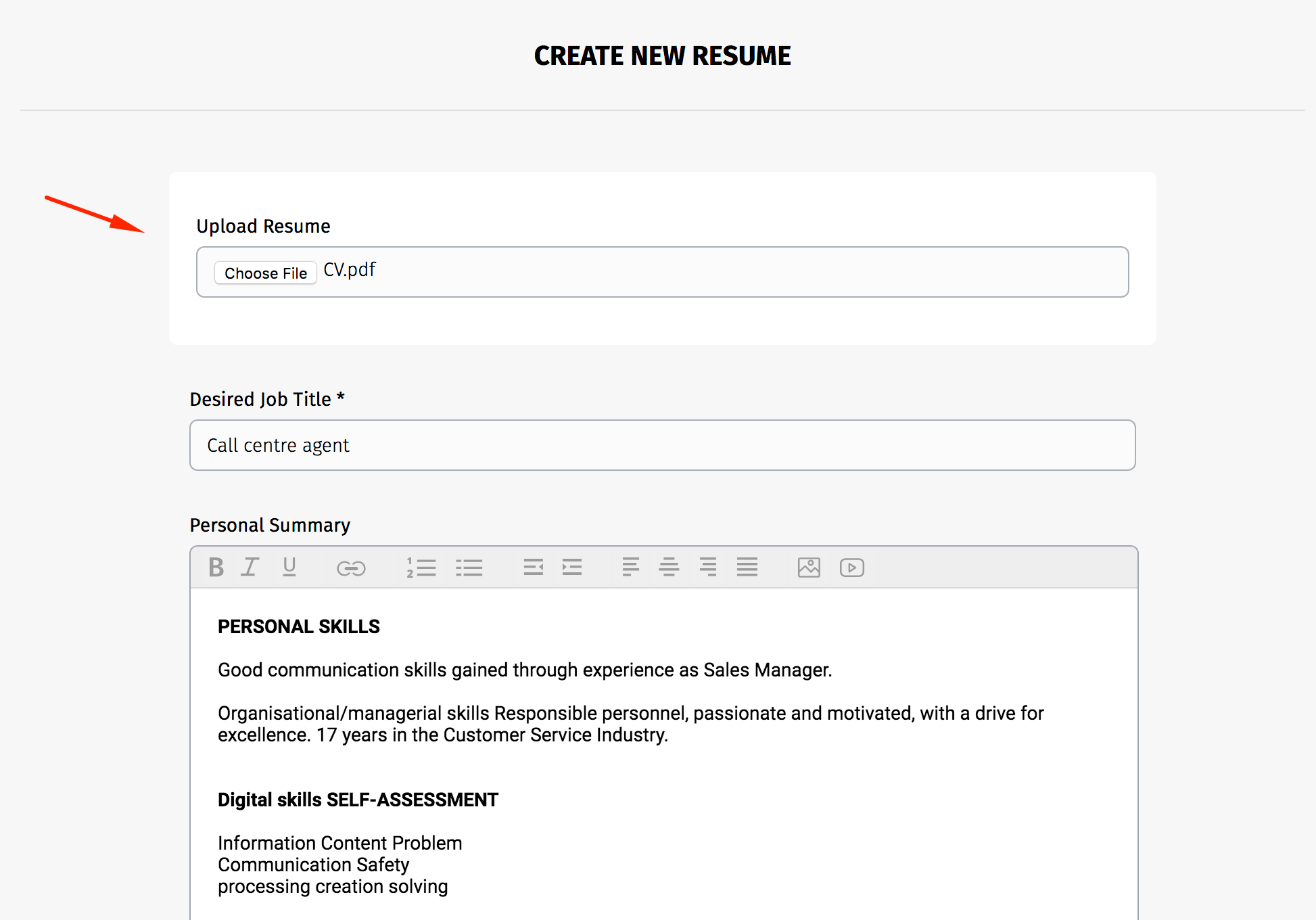 upload resume document and display wp