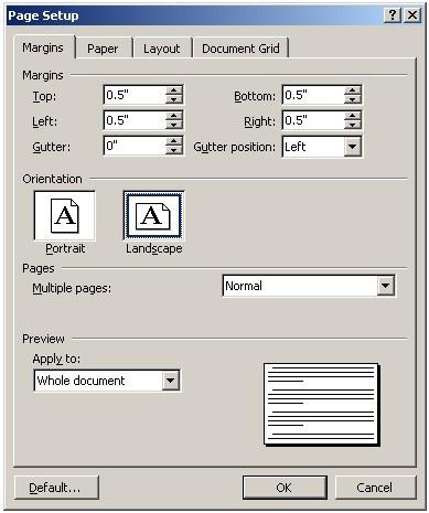 cant create 3 column tri fold document word