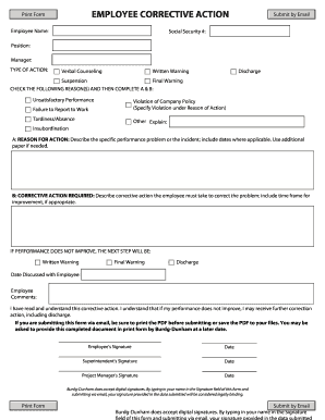 disciplinary action form word document