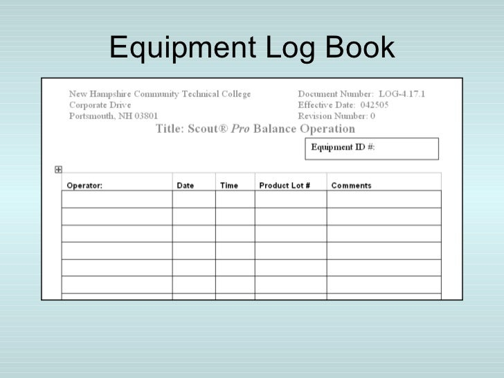 an example of a workplace document is a log book