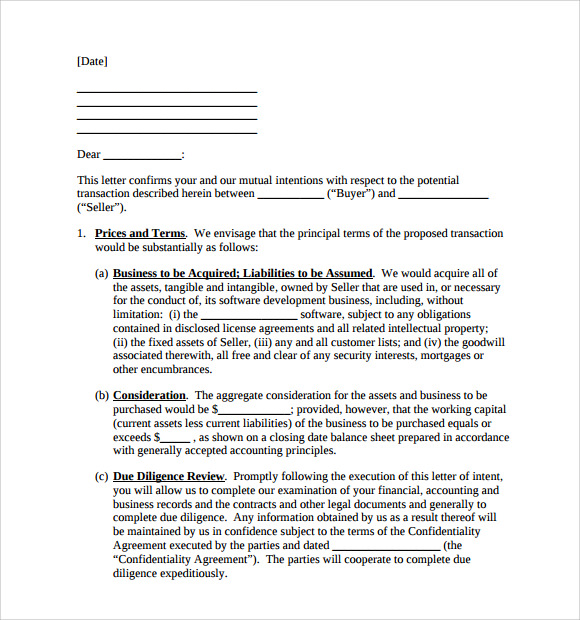 letter of intent to purchase business word document