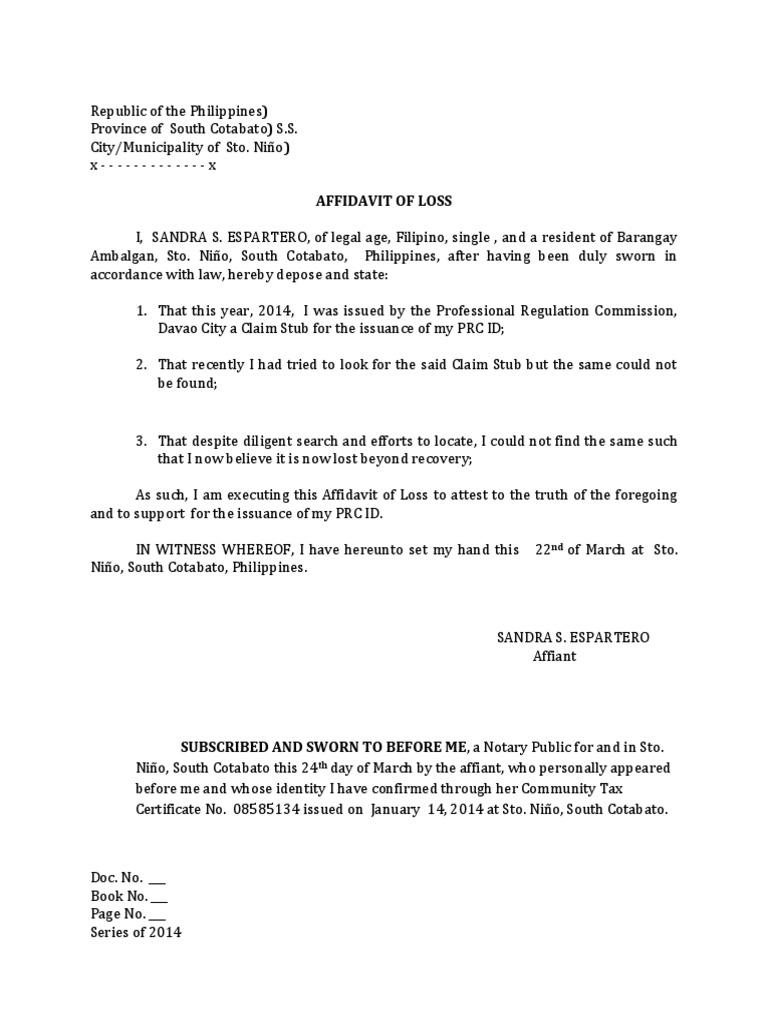 disclosure affidavit for lost document