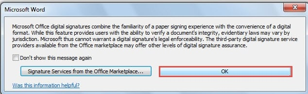 how to add signature on a word document