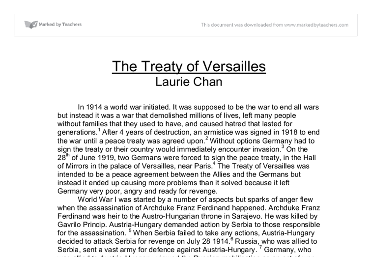 treaty of versailles mini q document a answers
