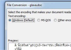 file conversion select the encoding that makes your document readable