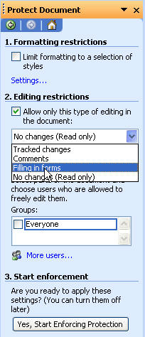 filling in a protected word document
