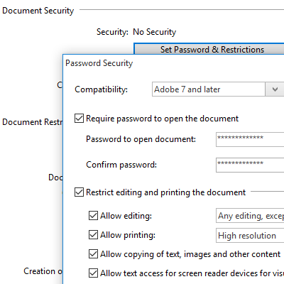how to remove permisson password adobe pdf from document