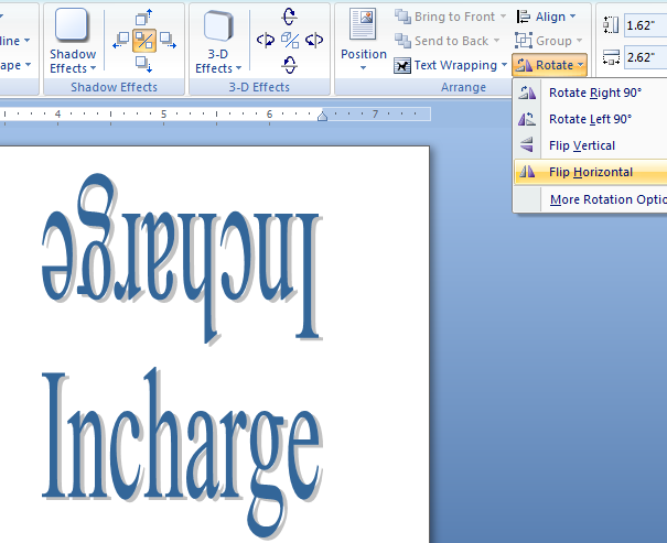 mirror text in word document