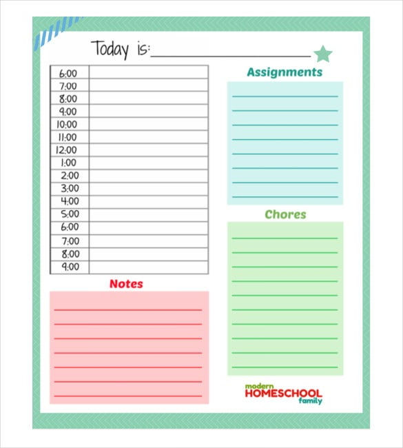 weekly schedule template word document