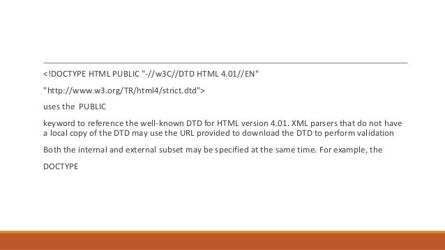 xml document type definition dtd