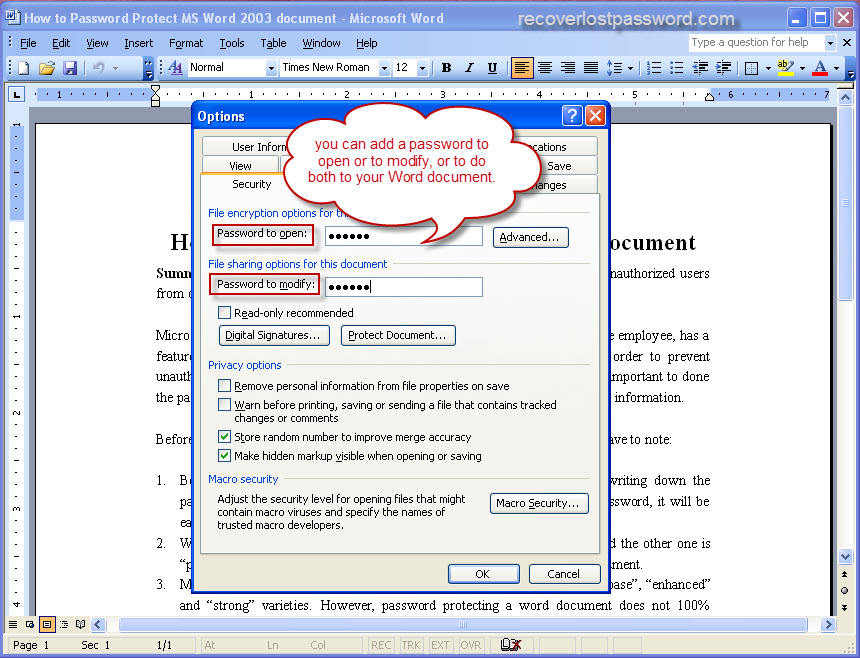 recover word document password free