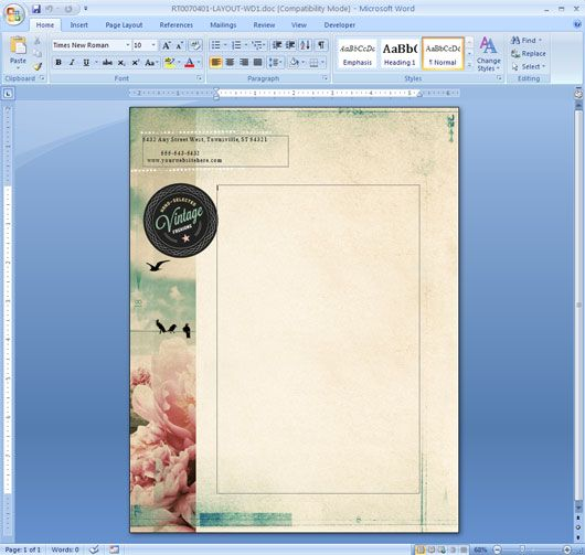 export cover sheet to word document