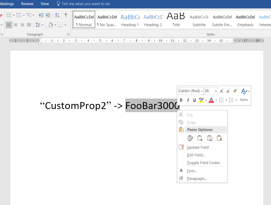 word update document properties 2016