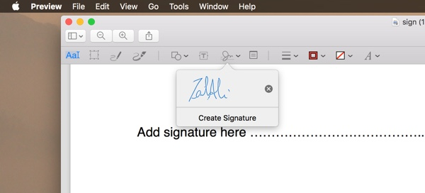 sign a word document mac