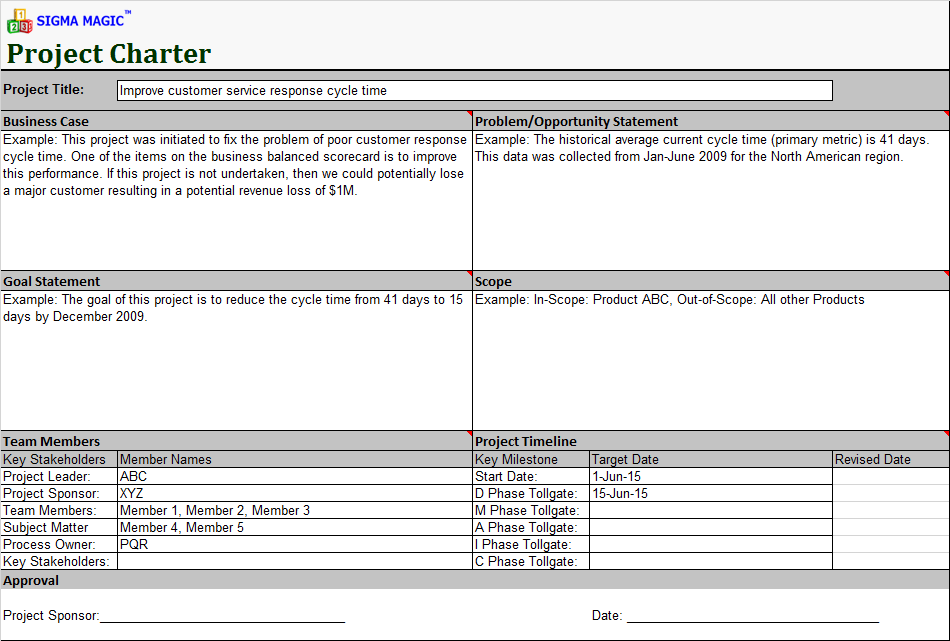 project charter document for software