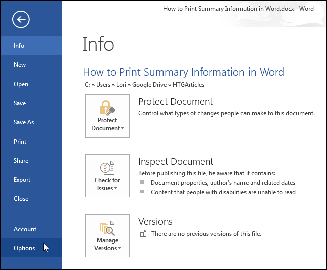 office word printing document properties