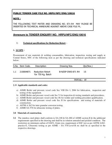 enquiry schedules from tender documentation