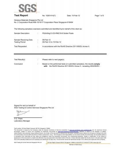 rohs directive 2011 65 eu manufacturing document sample