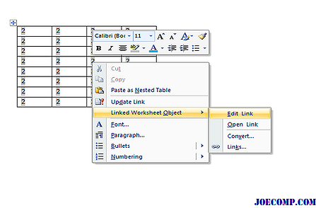 how to insert excel sheet in word document