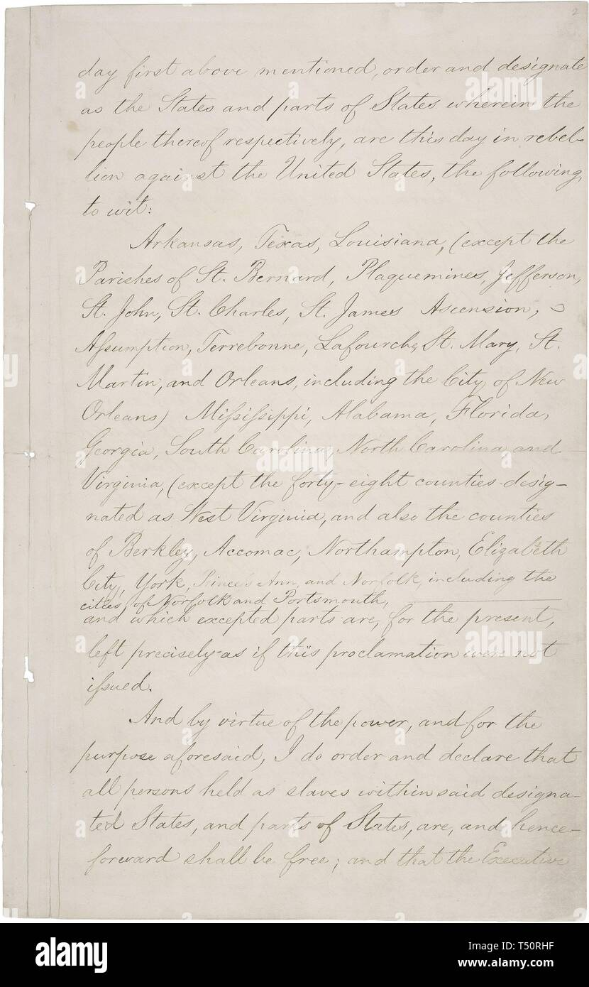 abraham lincoln document freeing slaves