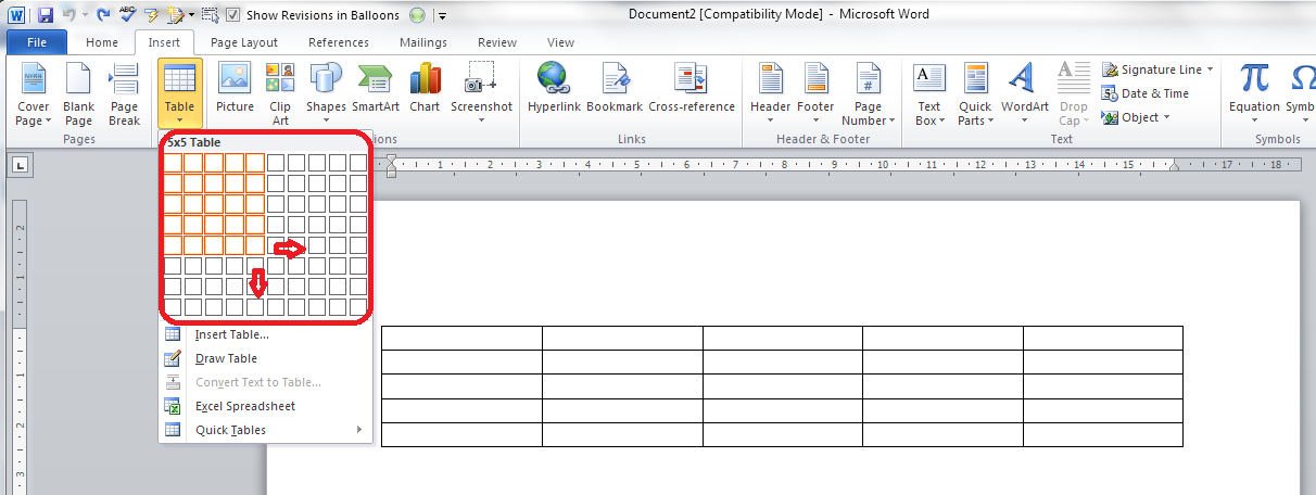 short options in word document