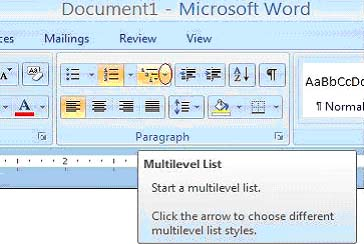 add bullet points to word document