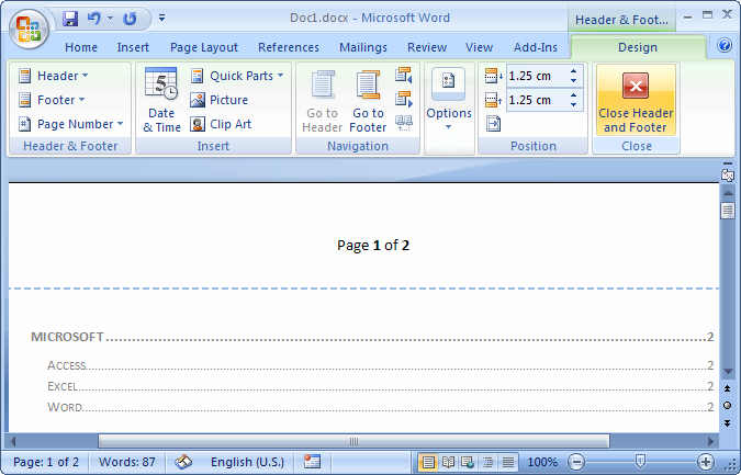 add page to word document 2007