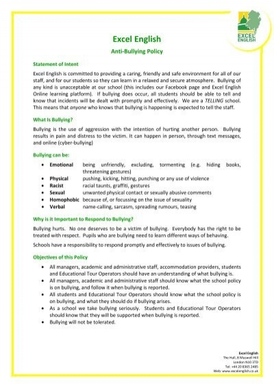 anti bullying policy and procedure document