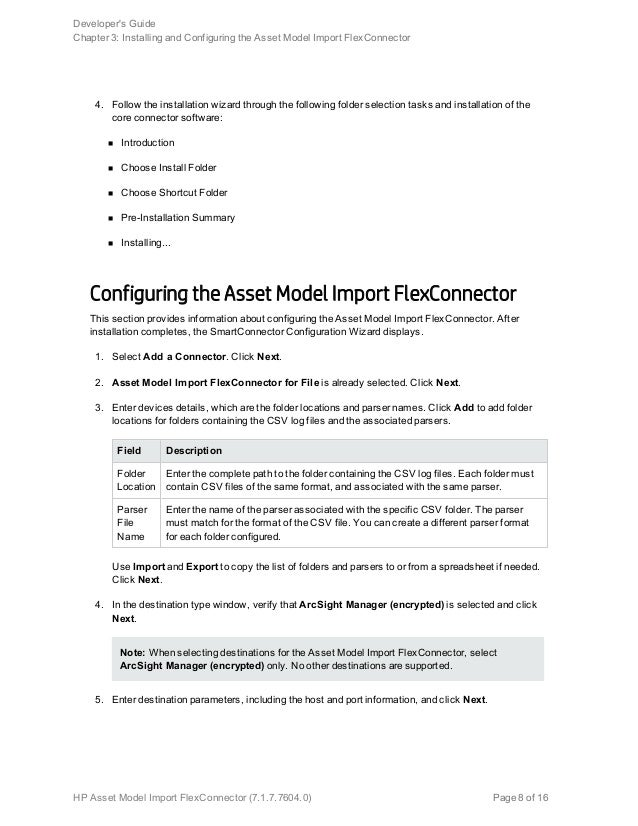arcsight flex connector documentation